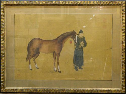 Chinese Horse & Groom Painting, Ink on Silk