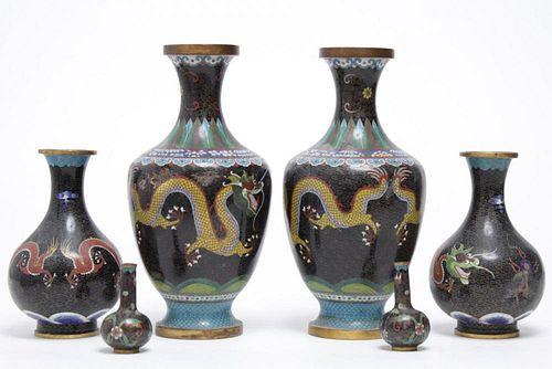 Chinese Cloisonne Dragon Vases