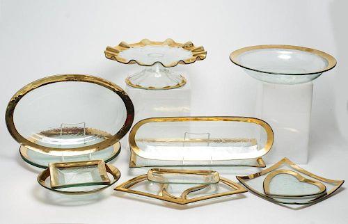 "Annieglass ""Roman Antique"" Serving Dishes, 13"