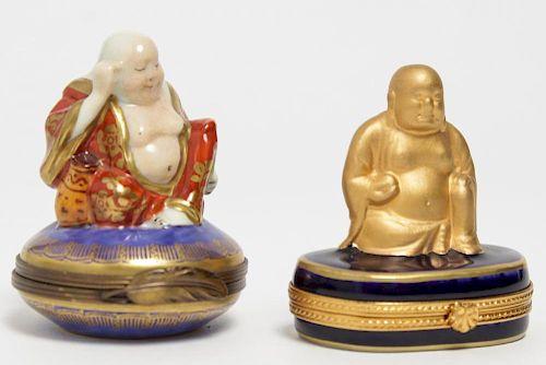 "Rochard & Limoges ""Buddha"" Porcelain Boxes, 2"