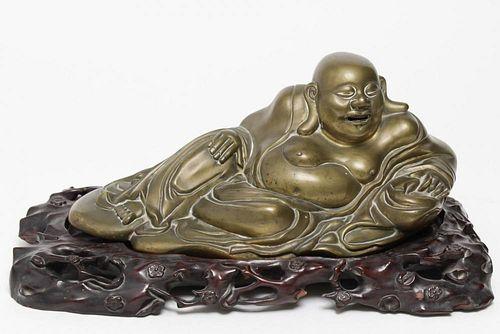 Chinese Laughing Buddha Hotai Figure, Gilt Bronze