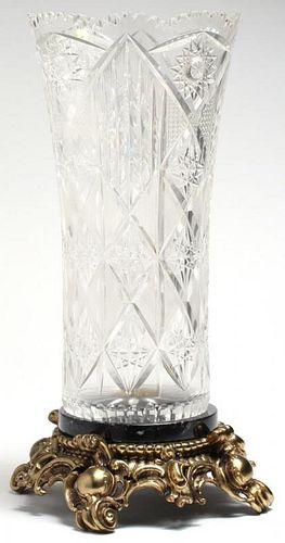Cut Crystal Vase on Marble & Gilt Metal Base