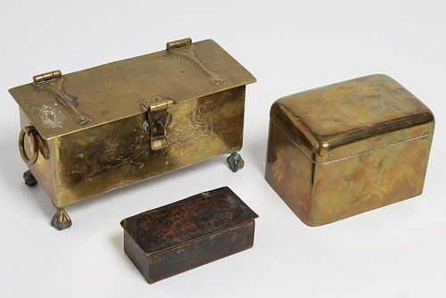 Antique Brass & Copper Boxes, Group of 3