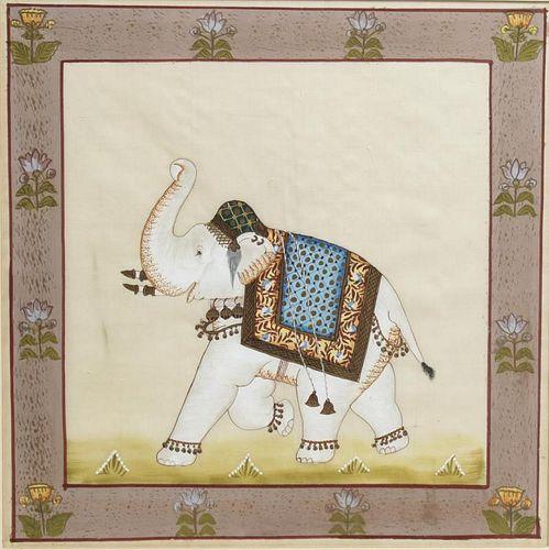 Indian Elephant Painting on Silk