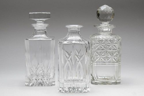 Cut Crystal Decanters, Vintage, Group of 3