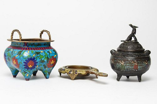 Chinese & French Enamel Incense Burners, 3 Vintage
