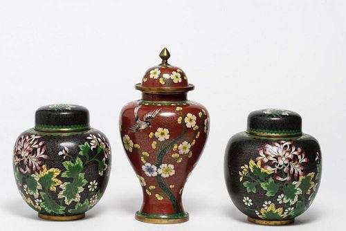 Chinese Cloisonne Enameled Lidded Jars, 3 Vintage