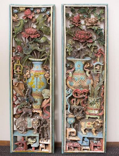 Chinese Carved & Polychrome Wood Panels, Pair