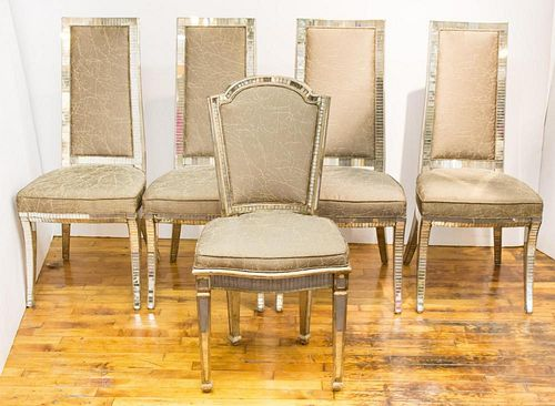 Hollywood Regency Mirrored Dining Chairs, Set of 4