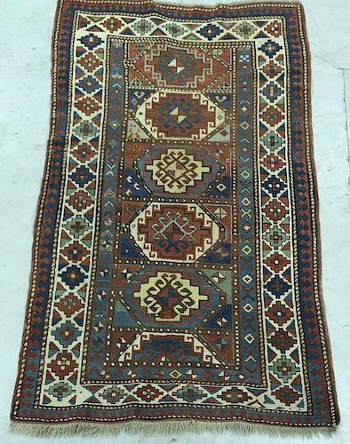 Colorful Kazak Center Hall Mat