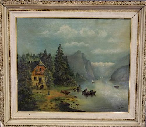 Oil on Canvas of Fishermen with Landscape