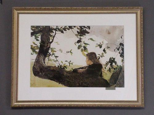 "Andrew Wyeth Hand Signed Print ""Helga...Orchard"""