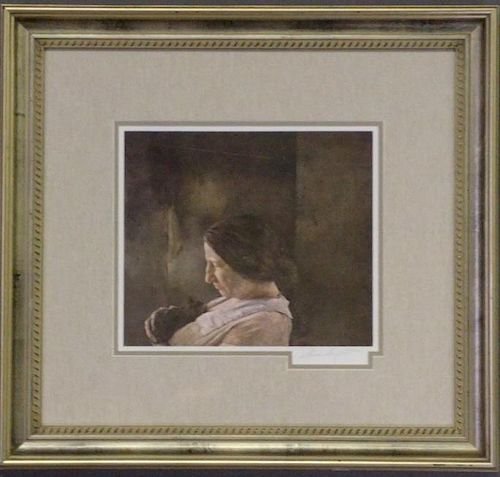 "Andrew Wyeth Hand Signed Print ""Miss Olson"""