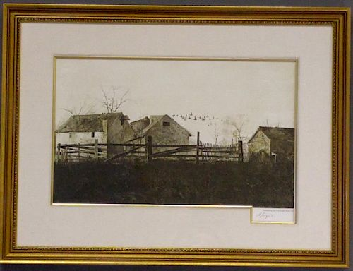"Andrew Wyeth Hand Signed Print ""The Mill"""