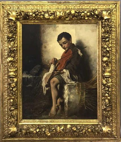 J.L. Ronay Oil on Canvas of a Seated Boy