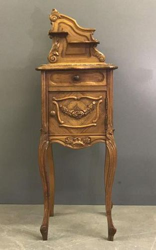 French Walnut Marble Top Commode