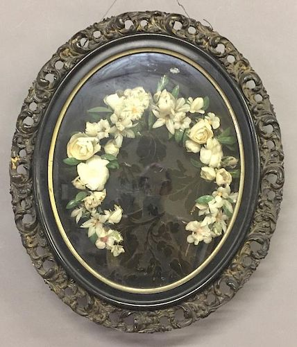 Victorian Shadow Framed Feather Flowers