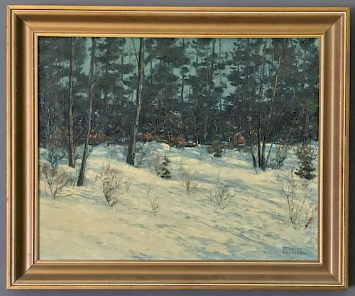 Herbert Foerster Oil on Canvas Winter Landscape