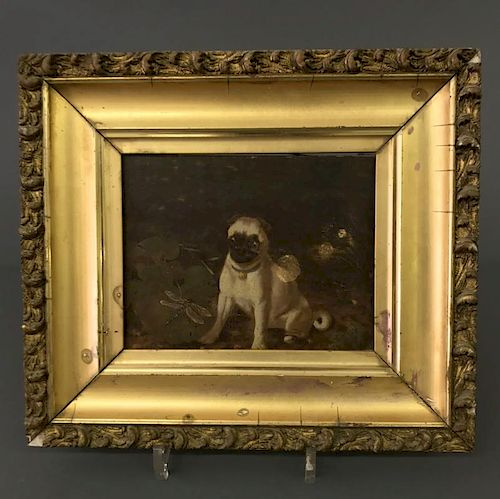 English Oil on Wood Panel of Pug Dog & Dragonfly