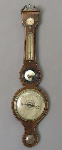 Banjo Form Mahogany Barometer