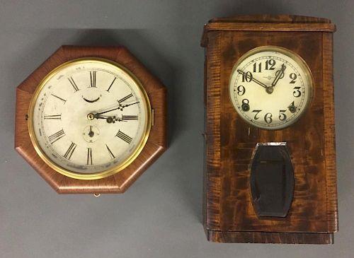 Ansonia Octagonal Mahogany Cased Wall Clock