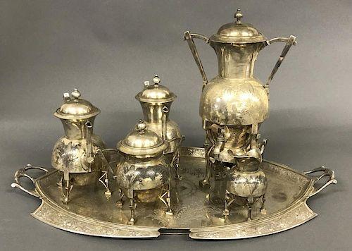 Silver Plate Five Piece Tea Service