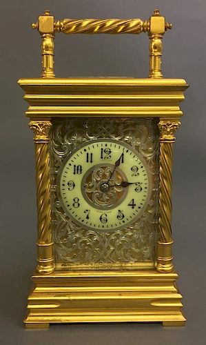 French Gilt Metal Carriage Clock