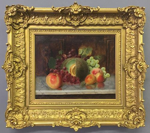 Francis Endicott Oil on Canvas Still Life of Fruit