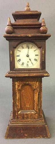 Miniature Oak Cased Tall Case Clock