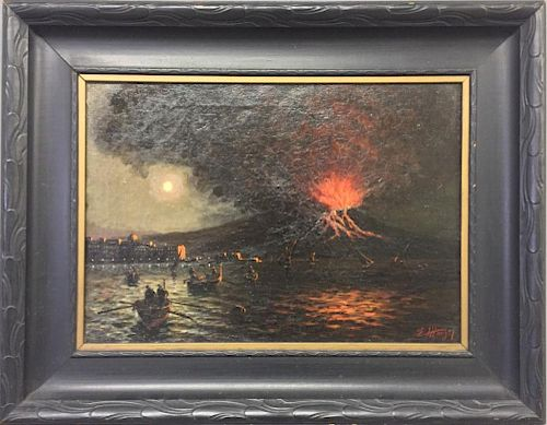 Oil on Canvas of Erupting Volcano at Night