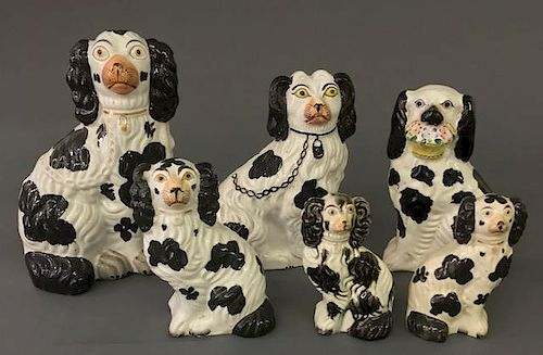 Six Staffordshire Black Spaniels