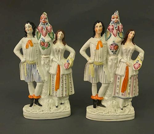 Large Pair of Staffordshire Figures