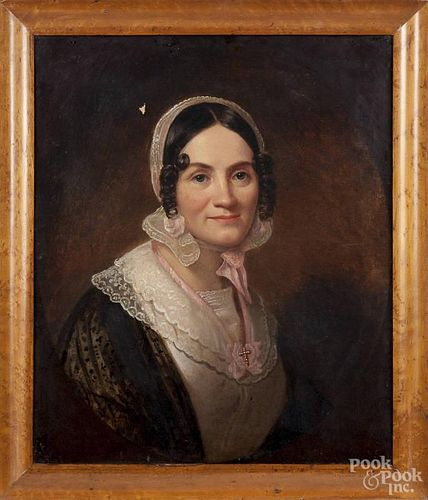 Oil on canvas portrait of a woman, 19th c., 24'' x 20''.
