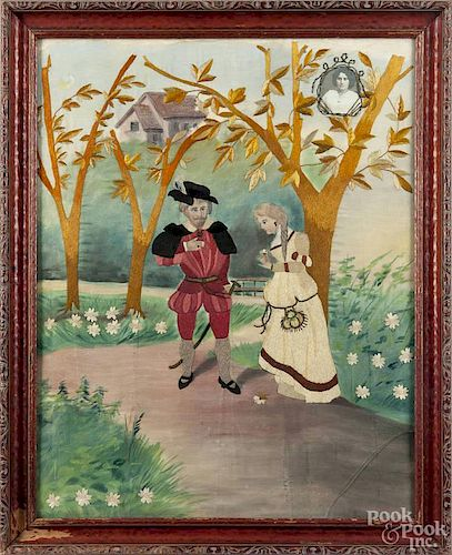 Continental pictorial needlework, 19th c., of a courting couple, with a portrait photograph in the u