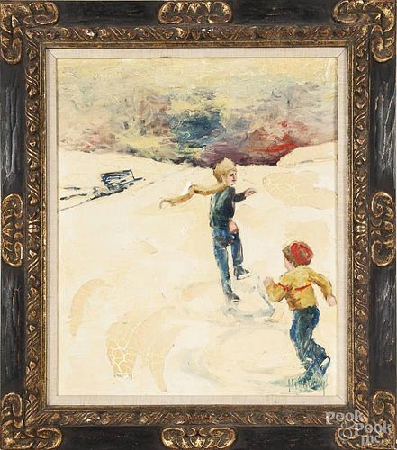 William McCauley (American, 20th c.) oil on canvas of two boys skating, signed McCauley, 24'' x 20''.