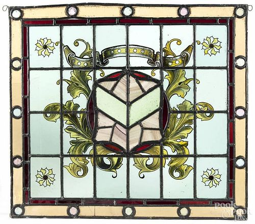 """Seven stained glass windows, 20th c., largest - 26"""" x 23 1/2""""."""