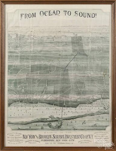 New York and Brooklyn Suburban Investment Co. of N.Y. lithograph map, 19th c., 27 1/2'' x 20 1/2''.