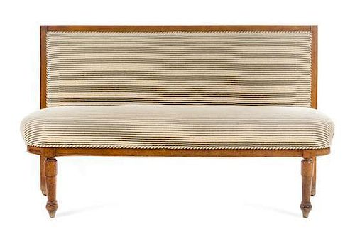 A French Provincial Fruitwood Bench Height 40 3/8 x width 64 7/8 x depth 18 1/2 inches.