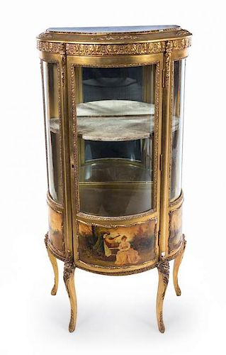 * A Louis XV Style Vernis Martin Vitrine Height 55 1/2 x width 26 x depth 13 inches.
