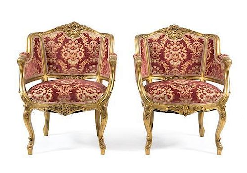 A Louis XV Style Giltwood Salon Suite Height of bergere 33 3/4 inches.