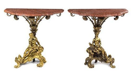 A Pair of Louis XV Style Gilt Bronze and Marble Console Tables Height 35 x width 35 x depth 14 inches.