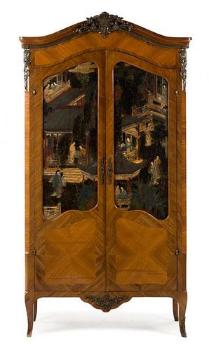 A Louis XV Gilt Bronze and Coromandel Lacquer Mounted Armoire Height 83 x width 44 x depth 17 1/2 inches.