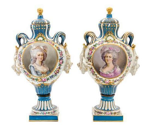 A Pair of Sevres Porcelain Vases Height 15 1/2 inches.
