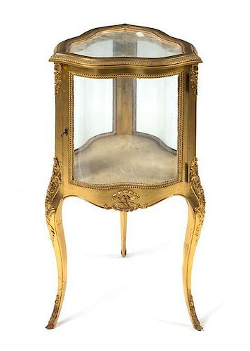A Louis XV Style Giltwood Vitrine Height 36 1/2 inches.