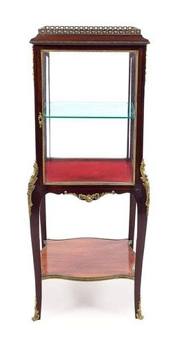 A Louis XV Style Gilt Bronze Mounted Vitrine Height 50 1/4 inches.