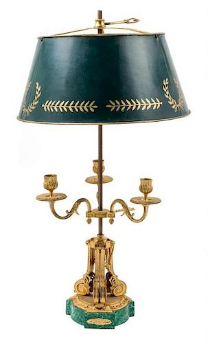 A Louis XVI Style Malachite and Gilt Bronze Bouilotte Lamp Height 25 inches.