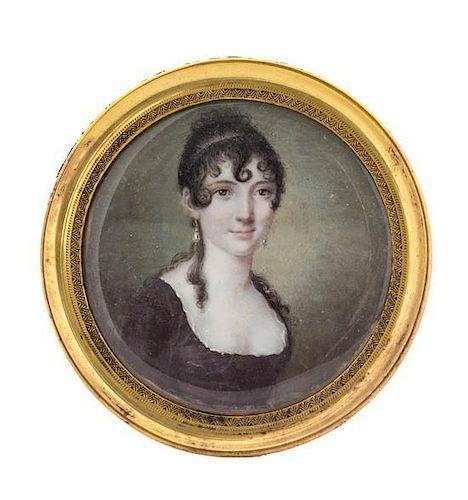 Jean Urbain Guerin, (French, 1760-1836), Portrait Miniature of Baroness Falkenstyn