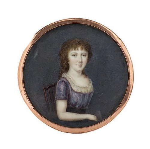 Artist Unknown, (French, 19th Century), Portrait Miniature of a Seated Girl