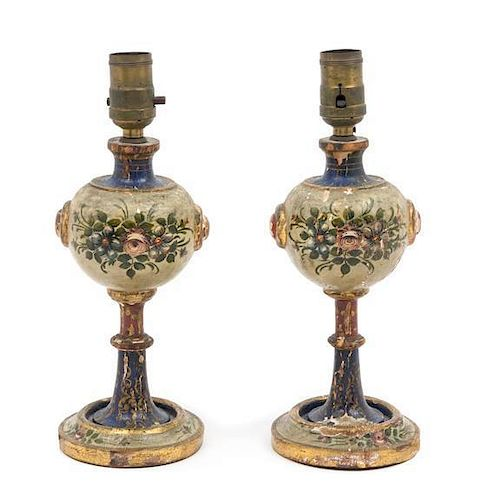 A Pair of Painted Wood Lamps Height 11 7/8 inches.