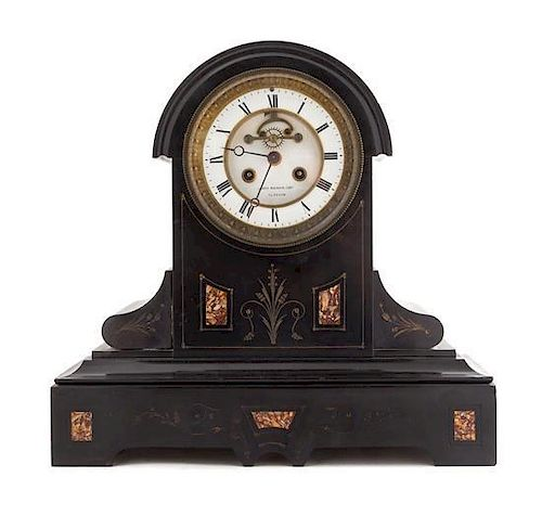 A French Slate Mantel Clock Height 13 3/4 inches.